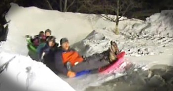 Awesome Dad Builds Epic Backyard Sledding Course for Kids