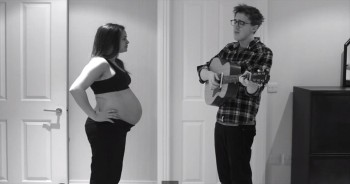 Adorable Dad Sings to His Growing Baby