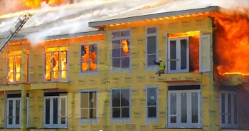Construction Worker BARELY Escapes Blaze in this Stunning Rescue!