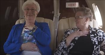 Two Funny Grannies Take Their First Flight