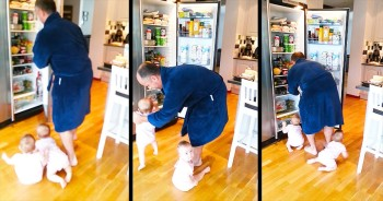 This Dad's Got Double The Trouble On His Hands. And It's SUPER Adorable!