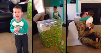 Deployed Daddy Surprises Son By Popping Out Of Wrapped Present