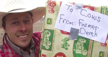Farmer Derek Plays Christmas Tune On Trombone To Bring In The Cows