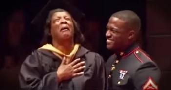 Marine Son Surprises Mother At College Graduation