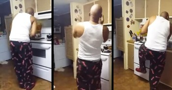 Man Hilariously Dances While Cooking Breakfast