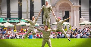 Groundskeepers Surprise Park Visitors With Amazing Acrobatic Routine