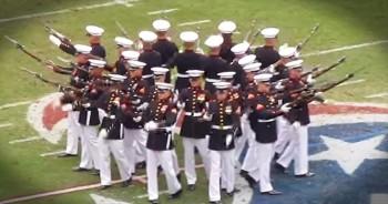 Marines Perform Patriotic Silent Drill
