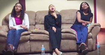 3 Girls Sit On Couch And Sing 'My Hands Are Lifted Up'
