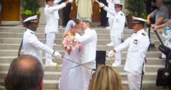 Navy Brothers Welcome Bride Into Family With Surprise Ending To Arch Of Swords