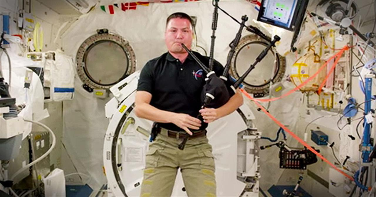 Astronaut Plays 'Amazing Grace' On Bagpipes In Space - Inspirational Videos