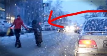 Dash Cam Catches Man Helping Elderly Lady Cross The Street
