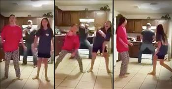 Dad Sneaks In And Dances During Daughter's Video