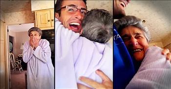 Grandson Surprises Nana After Long Trip Away