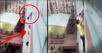 Amazing Rescue For Dog Dangling 13 Stories Above Ground