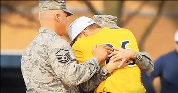 High Schooler Cries When Father And Sister Surprise Him With Military Homecoming