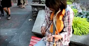 Talented Man Plays Fiddle Waiting For The Bus