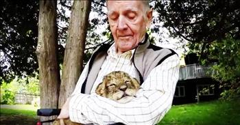 92-Year-Old War Hero Tears Up While Holding Baby Lion