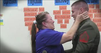 Third-Grade Teacher Gets Surprise Of A Lifetime From Marine Son