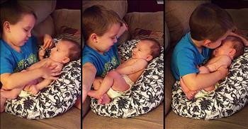 Brother Sings 'You Are My Sunshine' To Baby Sister