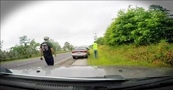 Good Samaritan Helps Drivers When Their Car Catches Fire