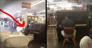 Man Plays Hymn On Piano During Lunch Break