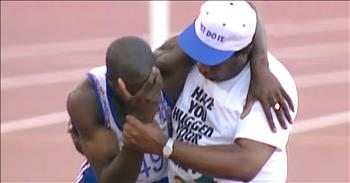 Dad Helps Olympic Runner Cross Finish Line After Fall
