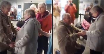 Sweet Older Man Proposes To Longtime Girlfriend At The Airport