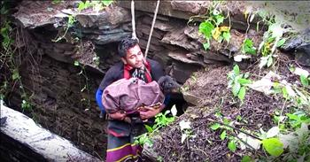 Dog Cries With Joy While Being Rescued From A Deep Well