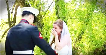Marine Brother Surprises Sister At Her Wedding