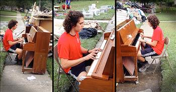 Teen Plays Piano Pulled Out Of Flood Waters