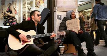 Musician Sits Next To The Homeless And Plays To Help Them