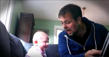 Dad's Enthusiastic Story Time Has His Baby Girl Cracking Up