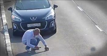 Kind Man Stops Car On Highway To Save Baby Kitten