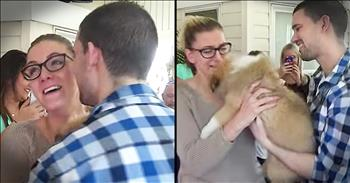 Boyfriend Surprises Girlfriend With Proposal And Puppy