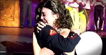 Actress Jumps Off Stage When Marine Sister Returns Home