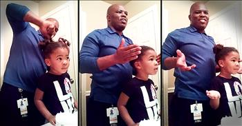 3-Year-Old Has Sweet Response When Dad Does Her Hair