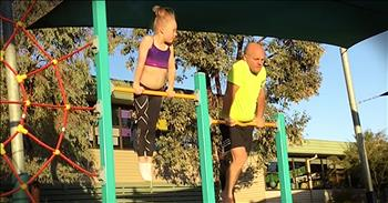 Father Tries Out Daughter's Gymnastics Routine