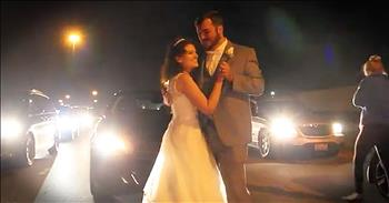 Bride And Groom Share First Dance On Freeway During Traffic Jam