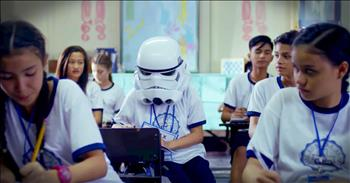 Student Wearing Helmet Gets Surprise From Classmates