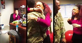 Soldier Surprises His Mother At Work With Homecoming