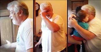Grandpa Tears Up When He Meets His Granddaughter