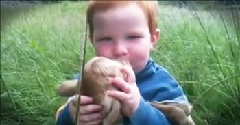 Little Boy Loves On A Baby Goat