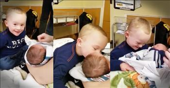 Little Boy Lights Up Meeting Baby Brother