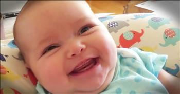Baby Smiles While Her Mommy Sings A Hymn