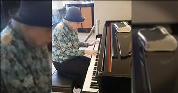 Elderly Woman Plays 'Because He Lives' At Restaurant Piano