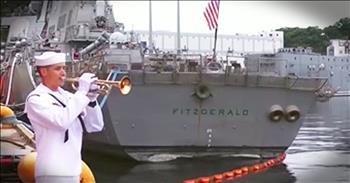 Sailor Plays Taps For Fallen Shipmates