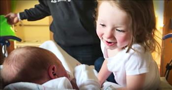 Toddler Has Sweet Reaction To Meeting Baby Sister