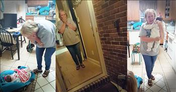 Grandma Is Surprised With Granddaughter On Doorstep