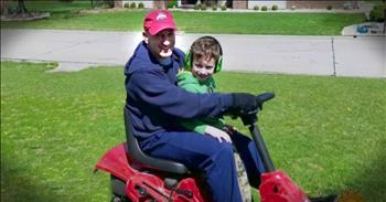 Boy Helps Neighbor With Yard Work While Dad Is Deployed