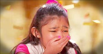 9-Year-Old With Big Voice Gets Golden Buzzer